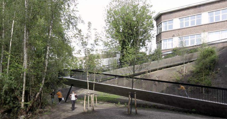 BAUKUNST_BOCKSTAEL_©MaximeDelvaux_pedestrian bridge and users view_03